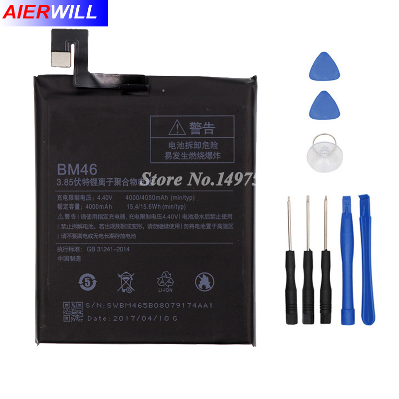4000mah BM46 Battery For Xiaomi Redmi Note 3 note3 Pro/Prime Bateria Accumulator+Tools