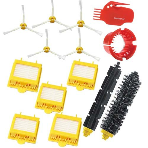 5 Hepa Filters + Bristle Flexible Beater Brush kit +5 Side Brush+cleaning tool Pack for iRobot Roomba 700 Series 760 770 780 790 vacuum cleaning kit attachement kit dusting dusting brush nozzle crevices tool upholster tool for 32mm