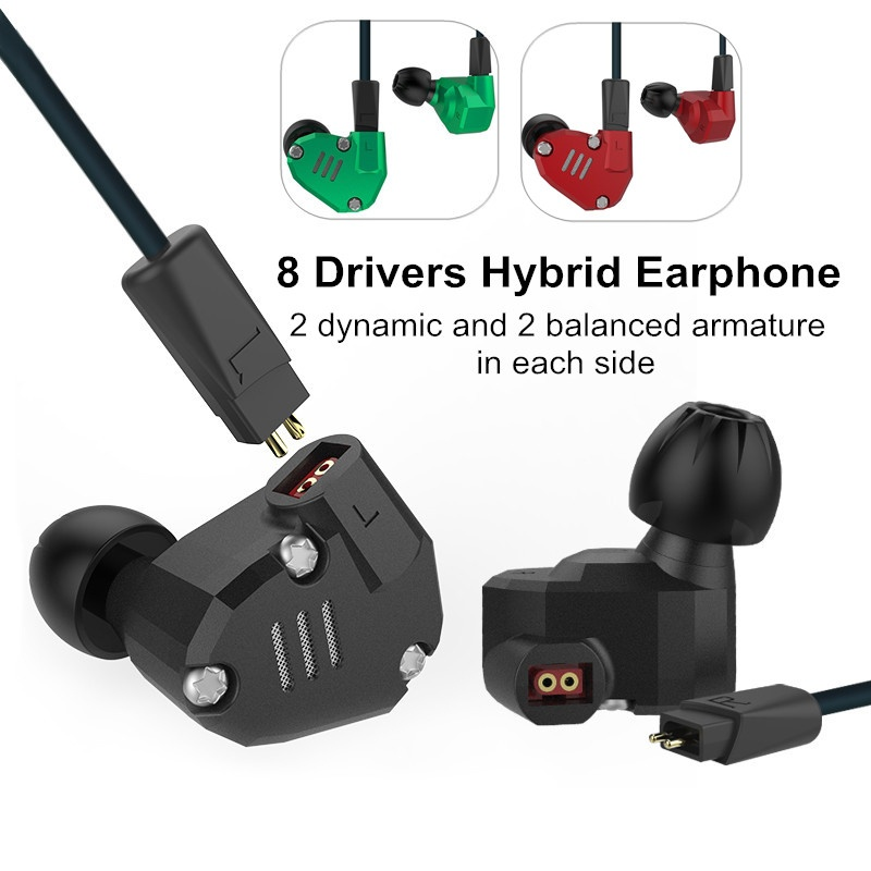 KZ ZS6 2DD+2BA Hybrid In Ear Earphone HIFI DJ Monito Running Sport Earphone Earplug Headset Earbud  Replacement Headphones kz ates ate atr hd9 copper driver hifi sport headphones in ear earphone for running with microphone game headset