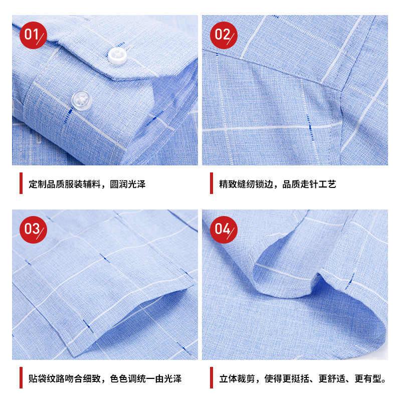 Новинка 2019 года, деловая мода, осень-весна, мужская клетчатая Повседневная Имитация льна, рубашки с длинными рукавами, мужская рубашка, camiseta masculina