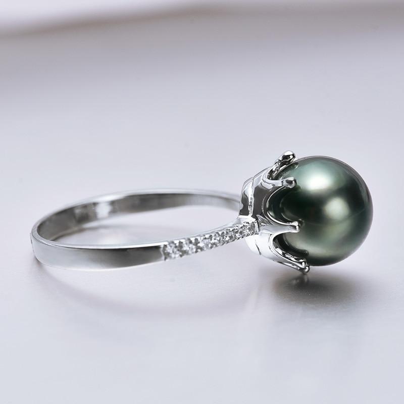 [YS] Crown Dizayn Üzük 925 Sterling Gümüşü 8-9mm Təbii Qara - Gözəl zərgərlik - Fotoqrafiya 5