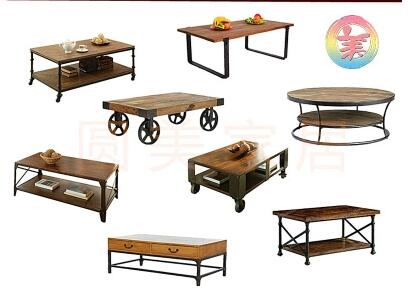 American retro solid wood coffee table tea table simple industrial wind loft movable double living room storage tea table .