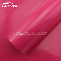 Free Shipping 1.52x30m Glossy Rose red Film Vinyl Sticker on Car/Motorcycle Decal Car Styling Lots Of Colours stickers choosing