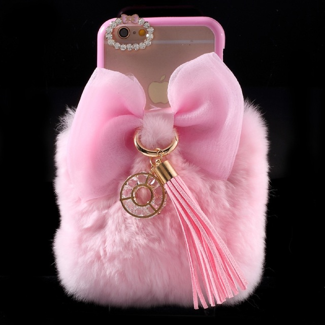 new concept 4142b abfec US $16.59 |Ayeena Fashion Diamond Rex Fuzzy Hair Cell phone Case Capas Para  Coque For Iphone 5 5S 6 6S 6 PLUS Fluffy Fur W/ Bow Capa Fundas-in ...