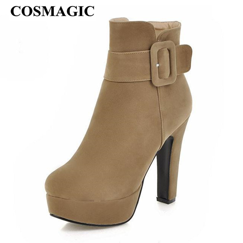 COSMAGIC 2018 New Women Buckle Ankle Boots Super High Heel Zipper Gothic  Punk Platform Motorcycle Botas Mujer Plus Size-in Ankle Boots from Shoes on  ... 2ff0bca5fa61