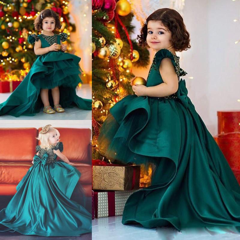 Lovely Hi Lo   Flower     Girl     Dresses   For Weddings 2019 Cap Sleeve Lace Appliqued Ball Gown Tiered Ruffles Bow vestidos de fiesta