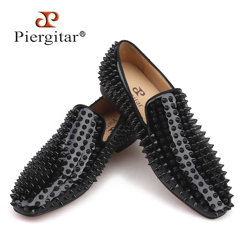 Piergitar 2018 new Handmade loafers with black rivets Fashion party and prom men's smoking slippers Plus size male flats piergitar 2017 new handmade men loafers with tie design fashion prom and banquest men smoking slippers plus size male flats