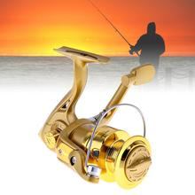 4000 Series 6BB Spinning Fishing Reel 5.2:1 Plating Golden Color Left/Right Interchangeable Collapsible Handle