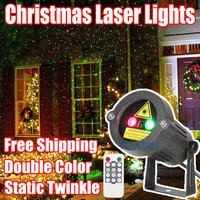 Christmas Laser Lights Outdoor Star Projector Showers Home Decorations Double Color Static Twinkle With Remote Waterproof