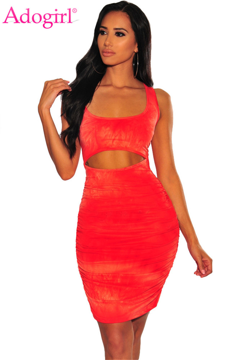 Adogirl Tie Dye Print Ruched Bodycon Club <font><b>Dress</b></font> Women <font><b>Sexy</b></font> <font><b>Hollow</b></font> Out <font><b>Lace</b></font> Up <font><b>Backless</b></font> Bandage Mini Party <font><b>Dresses</b></font> Tank Vestidos image