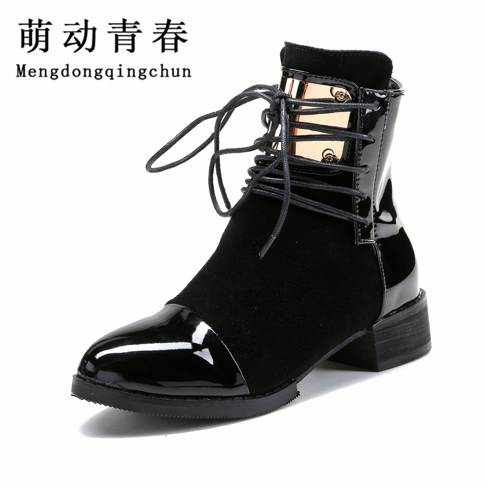 35-43 Women Boots Genuine Leather Flat Martin Ankle Boots Womens Motorcycle Boots Autumn Shoes Women Winter Patent leather Botas women led light shoes casual shoes led luminous boots unisex genuine leather ankle boots women usb charging martin boots 35 46