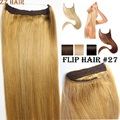 "16""-32"" 100% 1pcs Set Brazilian Remy Hair Flip In/on Human Hair Extensions Halo hair #27 gold blonde 80g-220g"
