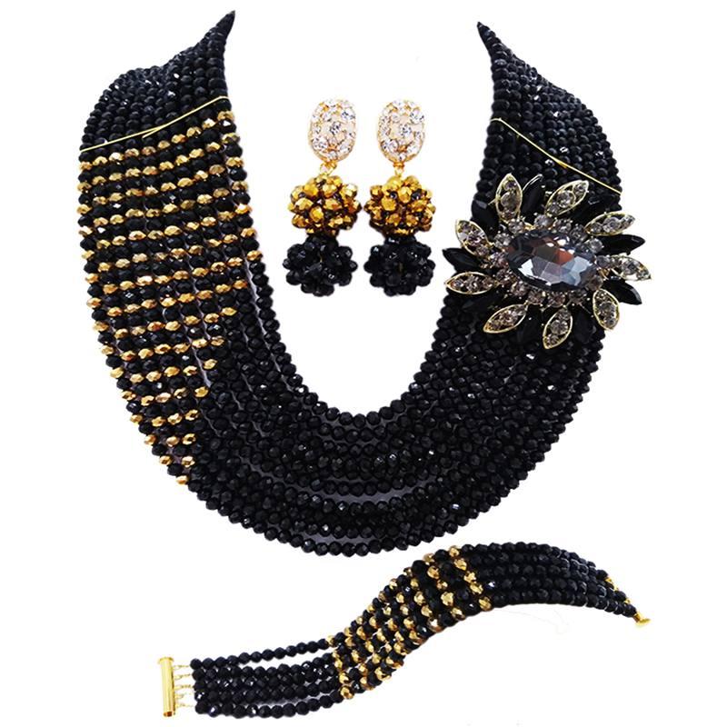 Best-seller couleur or noir bijoux en cristal femmes anniversaire collier boucles doreilles ensembles 10C-CJZ-21Best-seller couleur or noir bijoux en cristal femmes anniversaire collier boucles doreilles ensembles 10C-CJZ-21