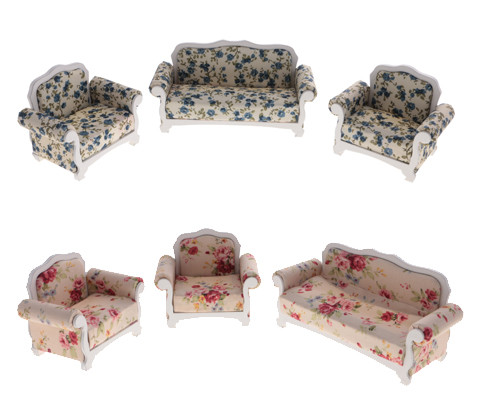 New 3 Pcs 1/12 Dollhouse Miniature Furniture Floral Sofa Set for 1:12 Scale Doll House Decor Accessories Creative Gift Kid Toy miniature dollhouse on table 1 12 scale house shape showcase