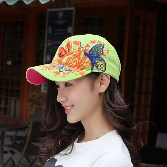 1 шт. 2017New модные с вышивкой в виде бабочек и летняя кепка-бейсболка Стиль женский рюкзак шляпу 7 цветов - Цвет: Зеленый
