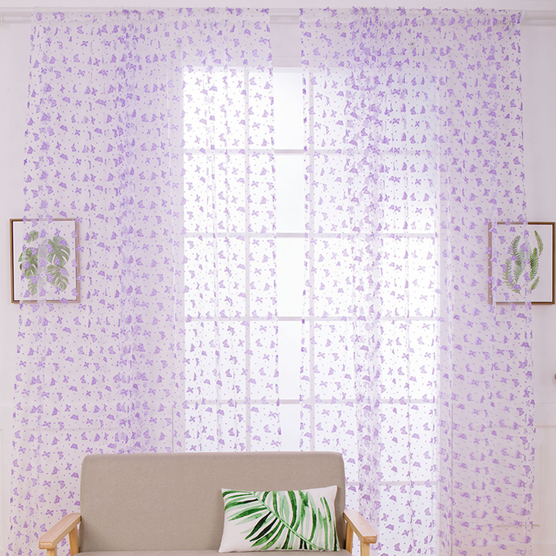 New Pastoral Printed Tulle Embroidered Voile Curtains for Living Room the Bedroom Sheer Curtains Tulle Window Curtains  P15