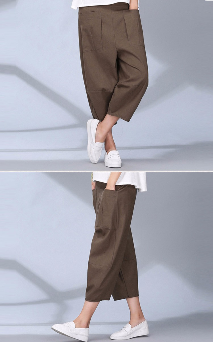 women calf length linen pants wide leg pants elastic waist sport pants casual loose solid trousers for women plus size L-2XL A10 c