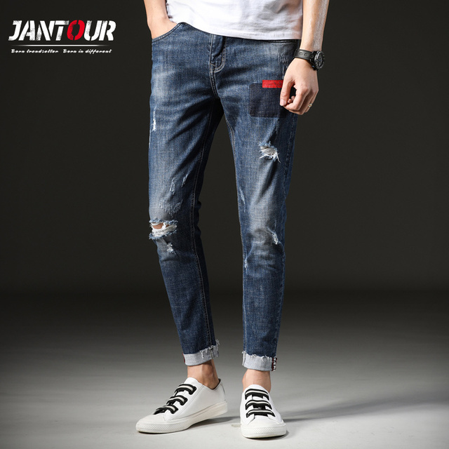 fb422da31b1 jantour 2018 New Fashion blue jeans Mens Slim Fit Casual Denim Pants Skinny  Jeans men Stylish Hole Mens Elastic Pencil Pant man