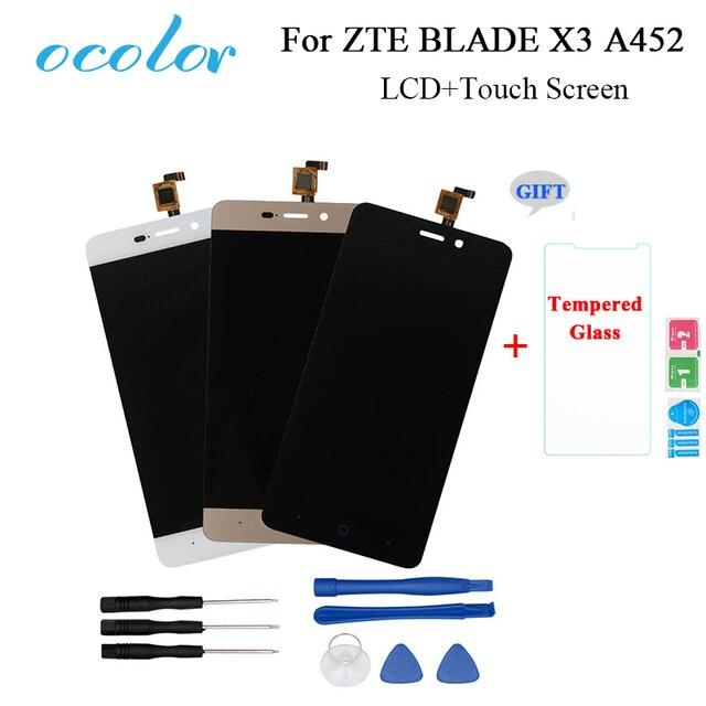 Ocolor zte ブレード X3 A452 t620 lcd ディスプレイとタッチスクリーンスクリーンデジタイザアセンブリの交換 zte 電話 + ツール + フィルム