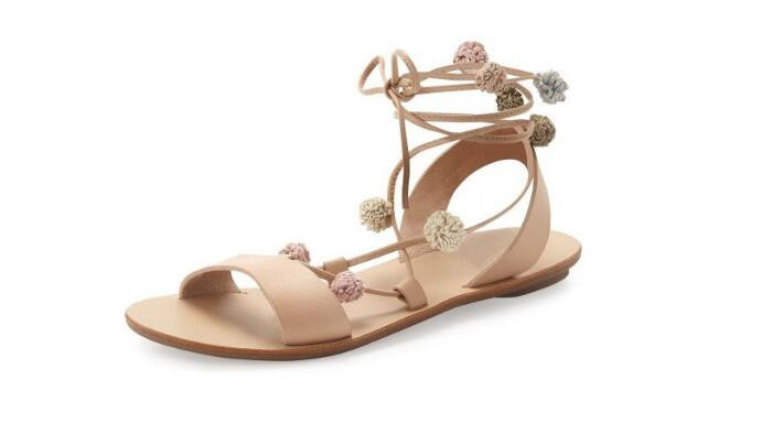 women newest flat heels sandals open toe cross-tied ankle strap pom pom bubbles sandals lace-up fashion shoes women apricot pom pom trim tropical swim cover up shorts