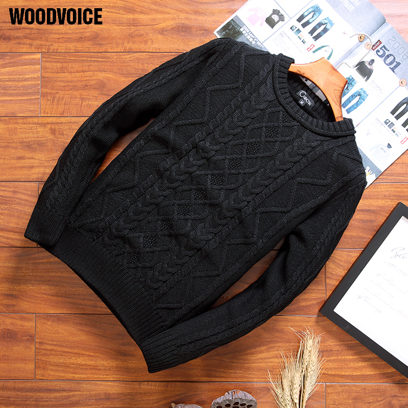 Woodvoice 2017 Brand Clothing Men Autumn Knitted Sweaters Round Neck Outwear Casual Knitwear Pullovers Solid Color Top Quality