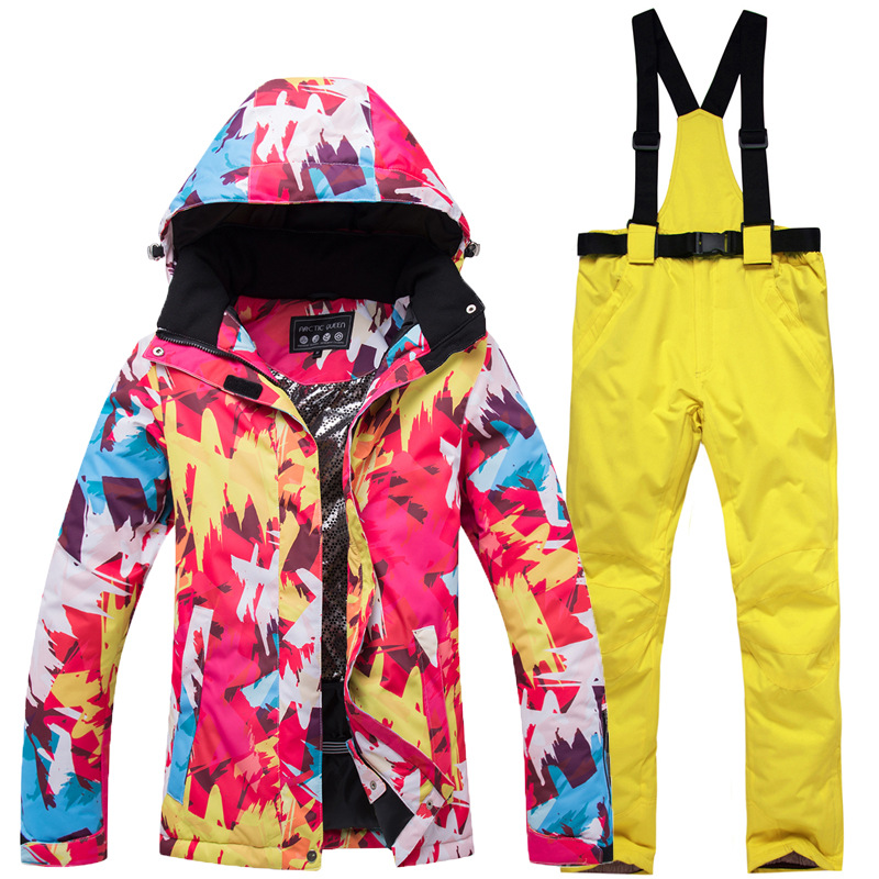 Ski Suit Women 2018 New Windproof Waterproof Breathable -30 degrees cold resistant Warm Snowboard Jacket Pants Ski Jacket Women