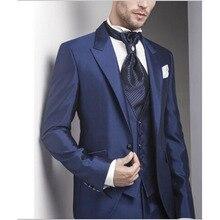 2017 Custom dark blue 3 pieces Business Formal Men Suit Groomsmen Tuxedo masculino Wedding Suits for mens (Jacket+Pants+vest)