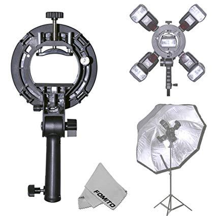 Fomito SIII Flash Bracket Grip Handle with 4 Speedlite Cold Shoe Mount Adapter for Bowen Mount Snoot Softbox Beauty Dish