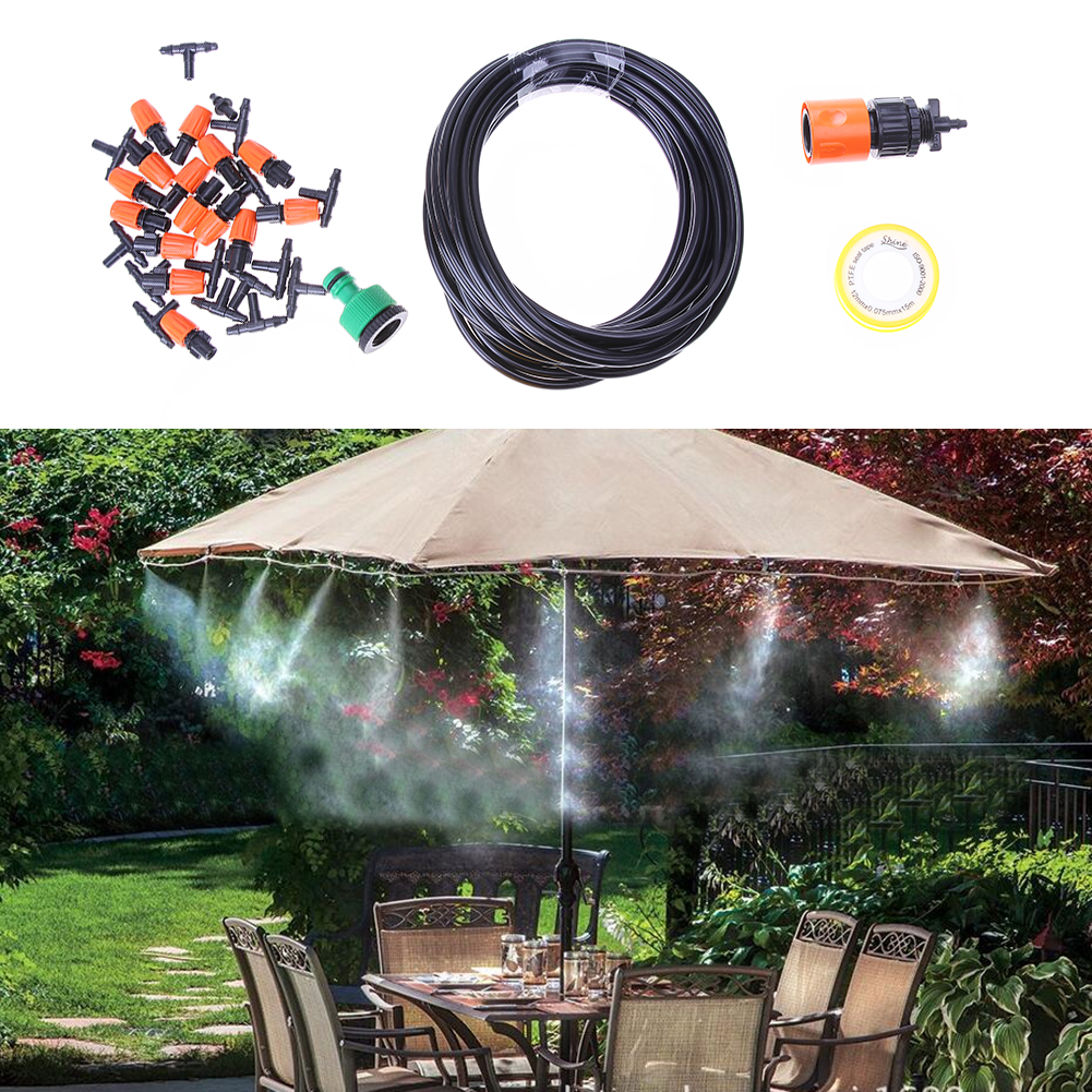 10m Adjustable 15 Sprinkler Automatic Irrigation Garden Watering System Kit Garden Plant Grass Atomization Irrigation