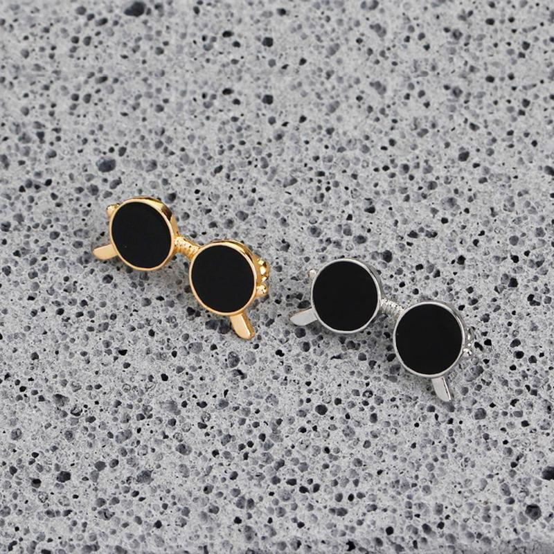 Mini sunglasses brooch unisex fashion popular party suit shirt decoration alloy pin cartoon drop oil gold and silver glasses pin 4