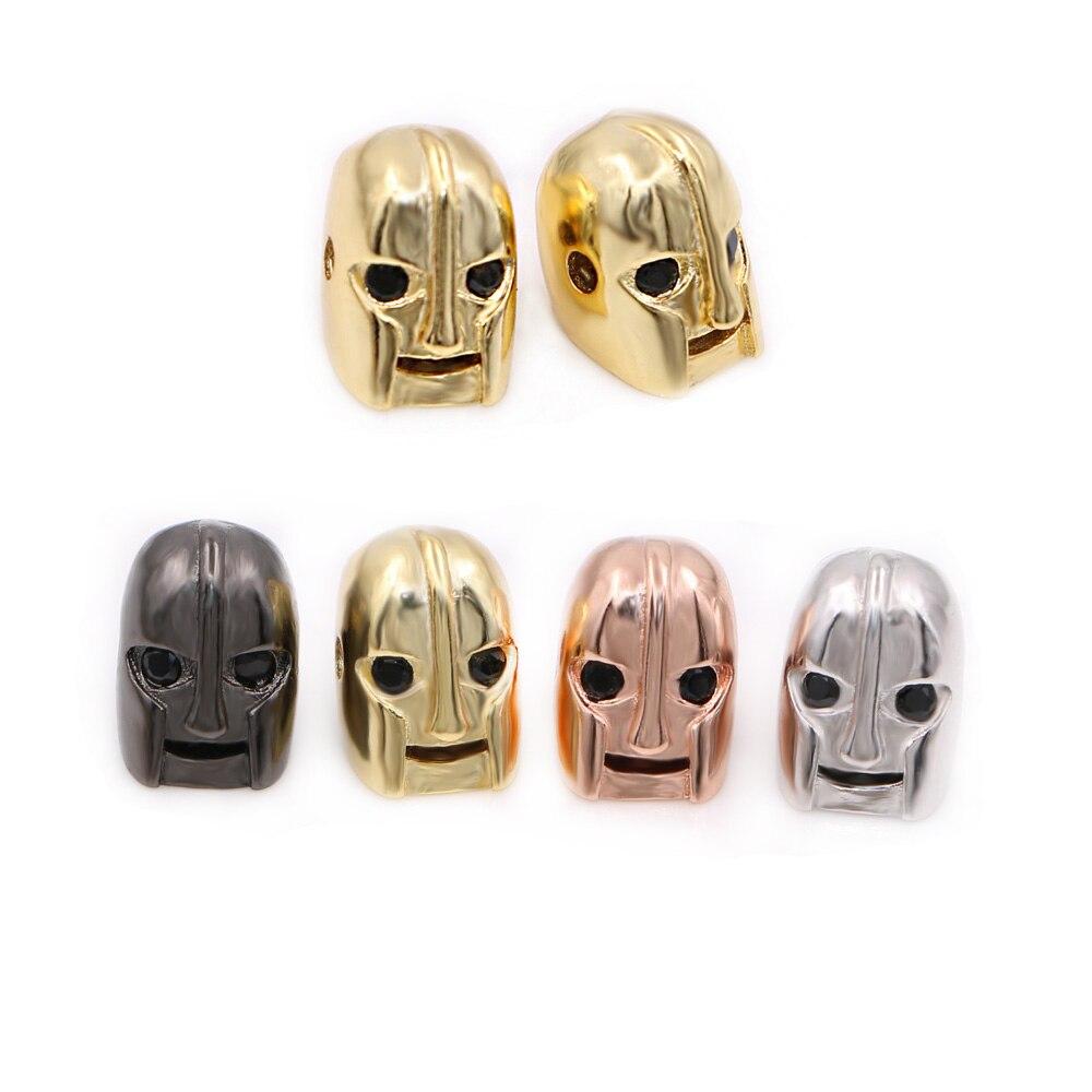Fashion Jewelry Accessories Charm Spartan Warrior Beads,Gold & Micro Pave Black CZ Helmet Skull Beads For Pulsera Bracelet DIY