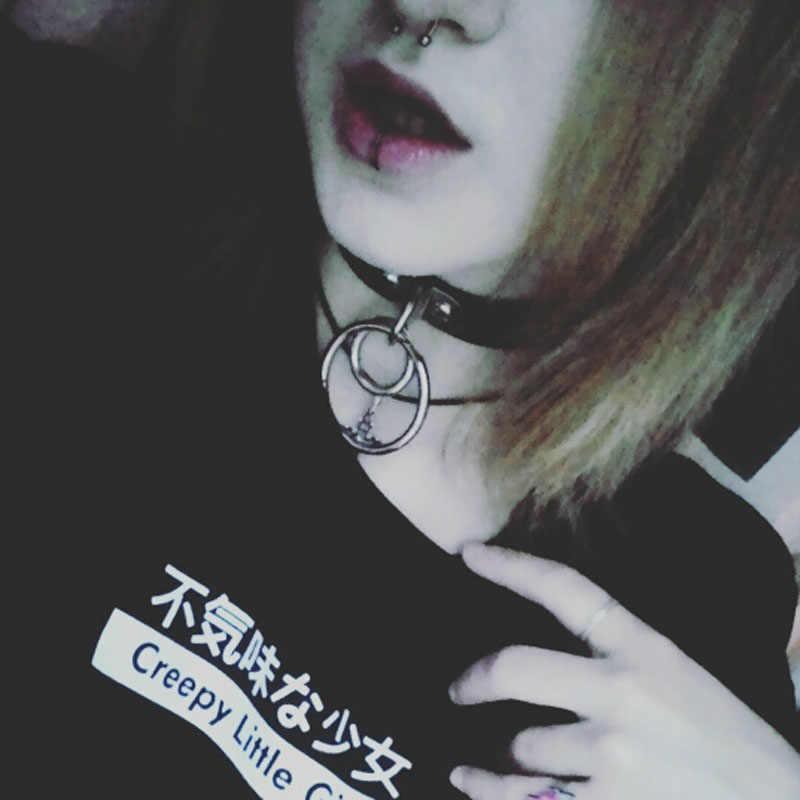 Di modo Fatti A Mano Punk Gothic Doppio O di Metallo A Forma di Pulsante di Cuoio Dei Monili Del Collare Della Collana Del Choker