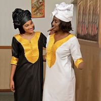 african dresses for women Dashiki embroidery white bazin dress plus size lady clothes africa robe africaine maxi dress 3xl 4XL
