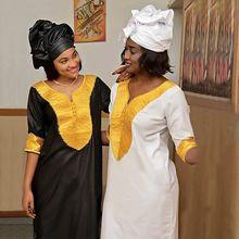 여성을위한 아프리카 드레스 대시 키 자수 화이트 bazin 드레스 플러스 사이즈 레이디 옷 아프리카 로브 africaine maxi dress 3xl 4XL