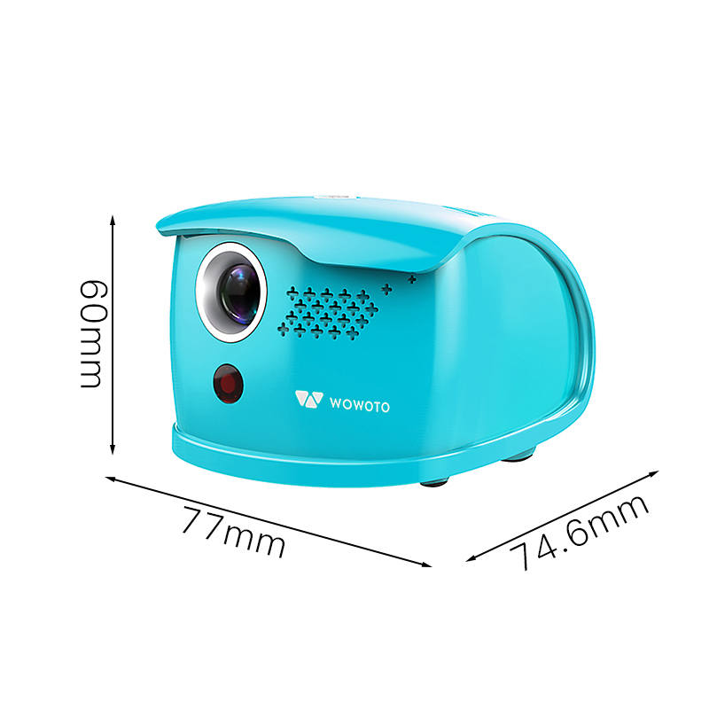 WOWOTO Mini Blue Projector Manual Focus 854 480 Resolution Wi Fi Bluetooth LED Portable HD Beamer For Home Entertainment Q1