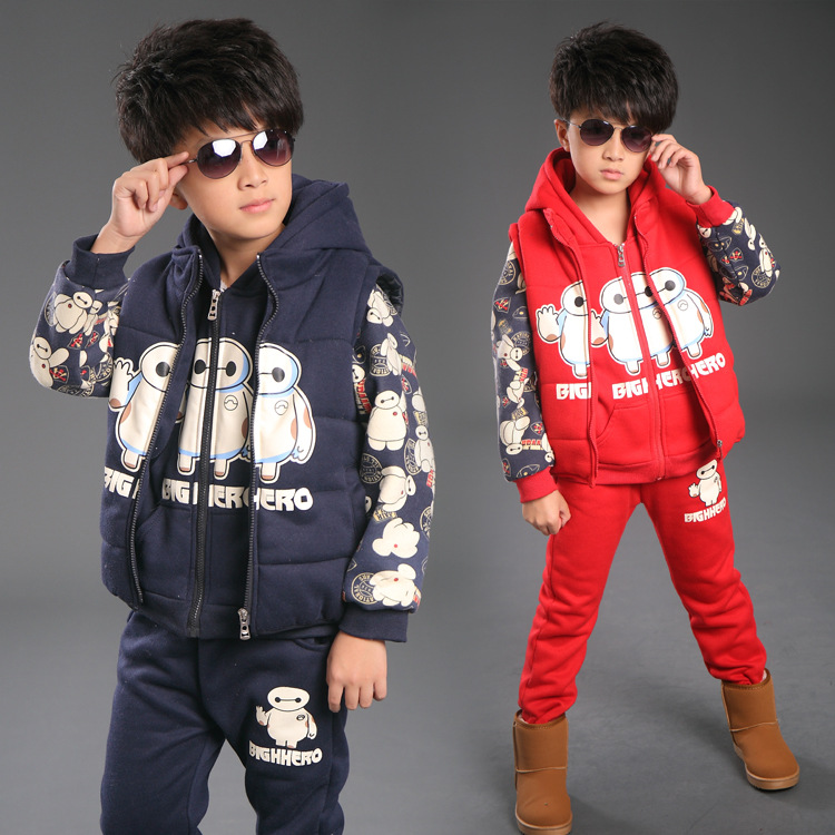 2015 Winter Baymax Kids Clothes 3 Sets,Boys Clothes With Velvet,Sports Suit Male,Children Clothing,Baby Boy Christmas Costumes 2015 new arrive super league christmas outfit pajamas for boys kids children suit st 004