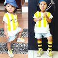2016 новый летний моды бобо выбирает детский С Коротким рукавом футболки хлопка Младенца полосатые печати для мальчика девушка желтый зеленый одежда
