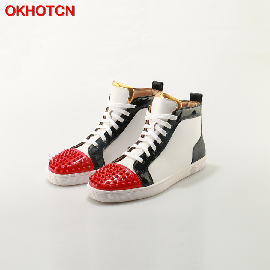 купить OKHOTCN Outdoors Chaussure Homme Fashion Men Shoes Brand Flats Lace Up White Black Red Mix Colors Spike Studs Rivet Casual Shoes по цене 6061.3 рублей