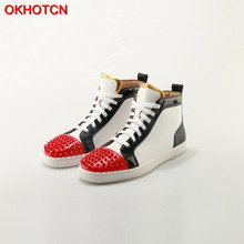 Купить с кэшбэком OKHOTCN Outdoors Chaussure Homme Fashion Men Shoes Brand Flats Lace Up White Black Red Mix Colors Spike Studs Rivet Casual Shoes