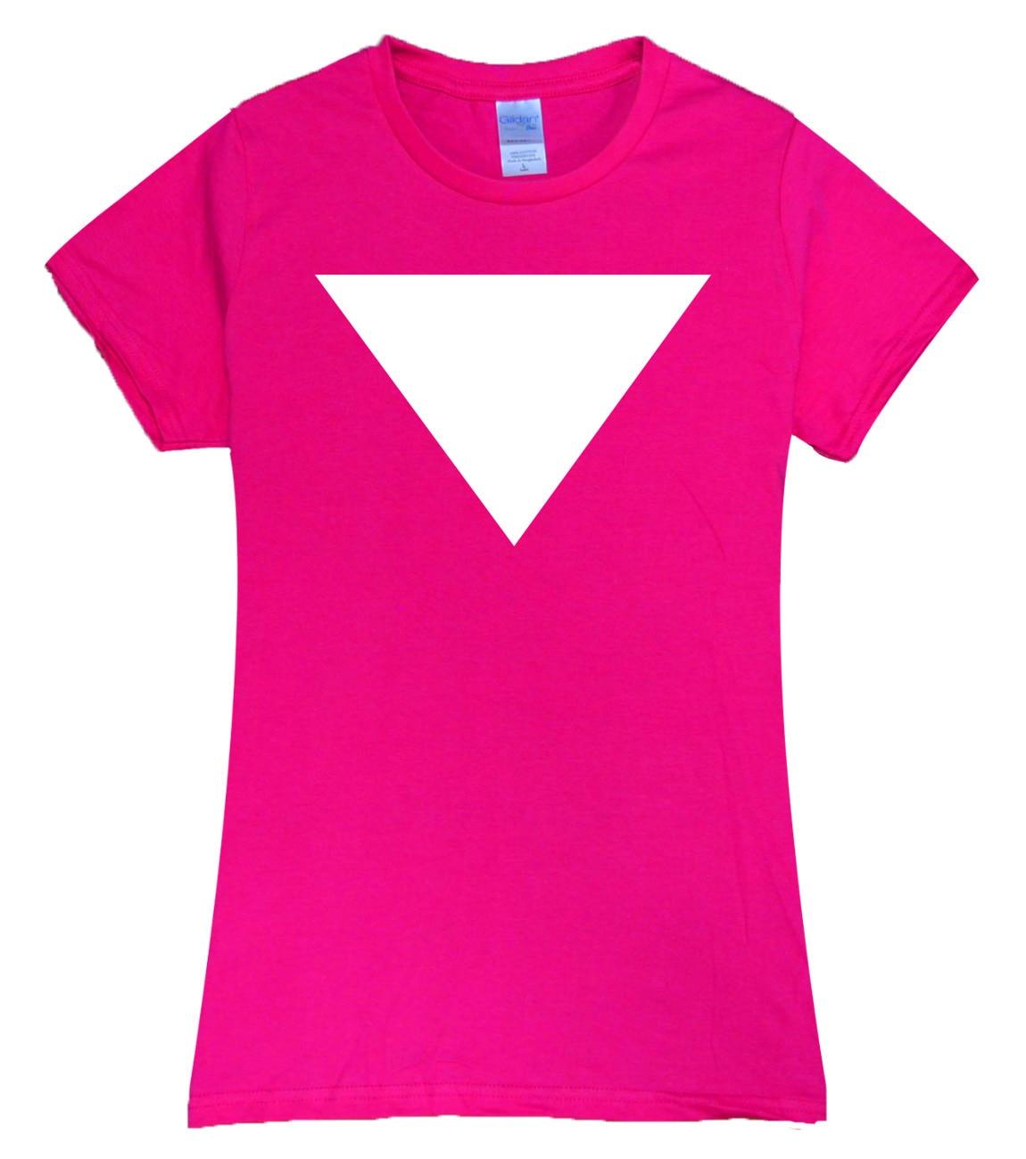 Triangle graphich funny Print Women Cotton t shirt brand hot sale streetwear harajuku pink shirt grunge