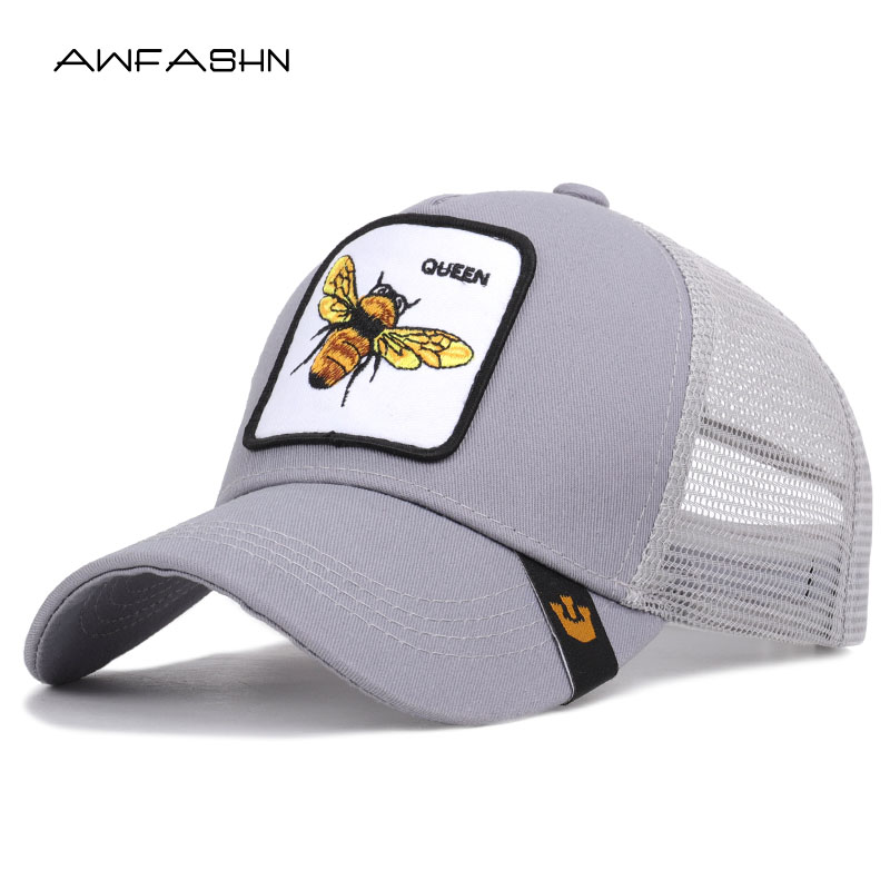 2019 New Trend   Baseball     Cap   Bee Embroidery Casual Mesh Hat Women Men Spring Summer Snapback Adjustable Sport Sunhat Bone Shades