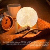 USB Rechargeable 3D Print Moon Lamp Touch Control 2 Color Change Creative LED Desk Night Lights