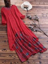 5xl 4xl パッチワークレトロロング花ボボドレスカジュアルマキシドレスプラスサイズの服大型サイズの女性ドレス