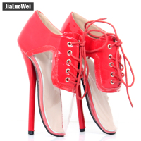 Jialuowei New Women Fashion Clear Transparent High heeled Shoes 7inch High Heel Ballet Sexy Fetish Lace up Ankle Pumps Plus Size
