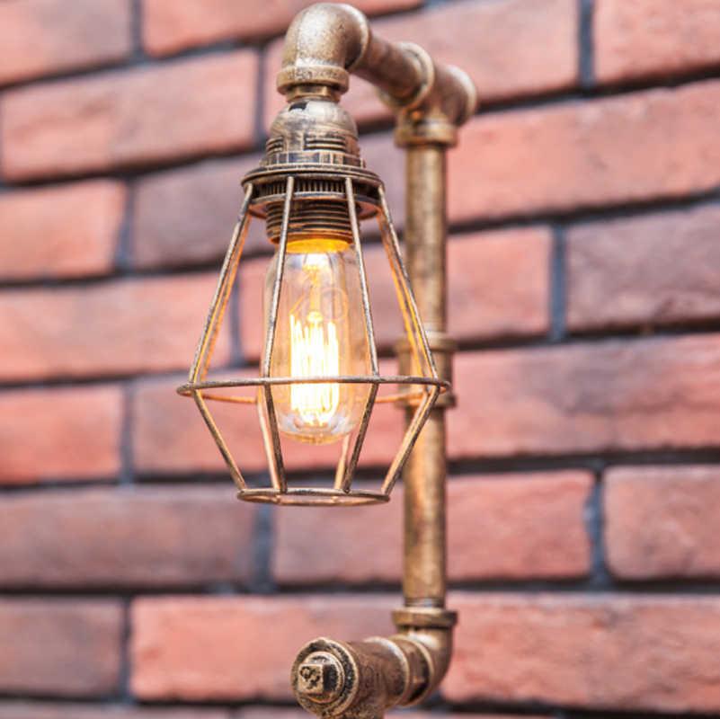 Креативная декоративная настольная лампа Американский промышленный стиль ретро личность кафе бар труба железная регулируемая настольная лампа светодиодный освещение