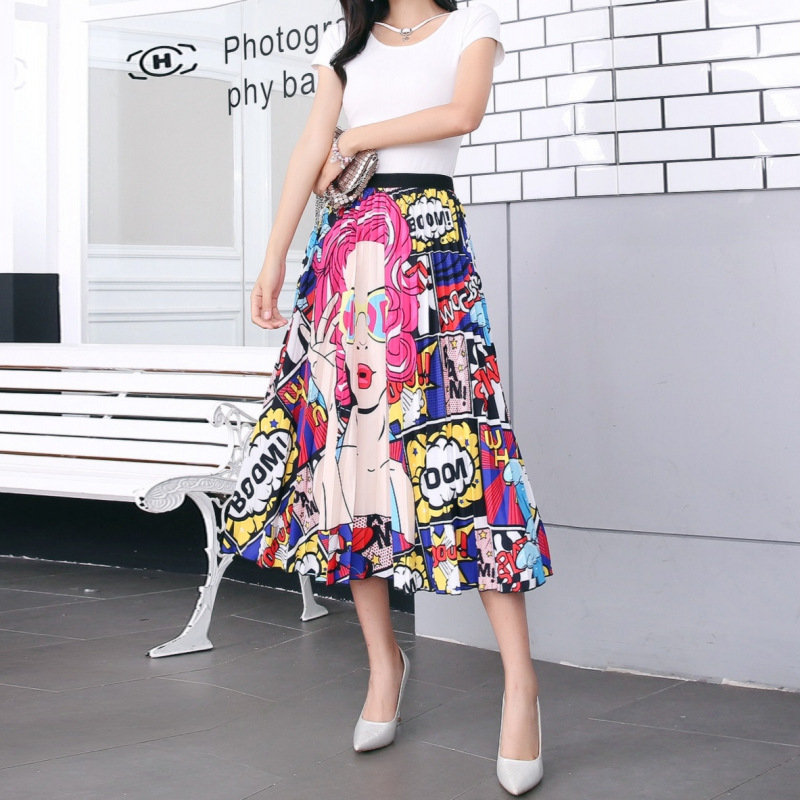 2020 New Summer Skirts Womens Butterfly Catroon Print Empire High Waist Elastci Pleated Midi Skirt European High Street Style 33