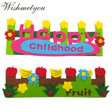 WISHMETYOU New Design Childhood Felt Stickers Decoration Children Room Kindergarten Free Cutting Felting Fruit Flower Fence