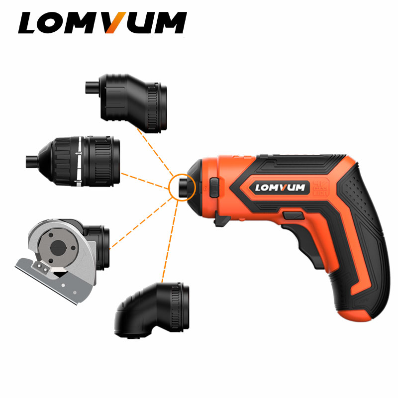 LOMVUM Cordless Electric 4V Lithium Ion Screwdriver Multi function Household Rechargeable Electric Drill Power Tools LED Light