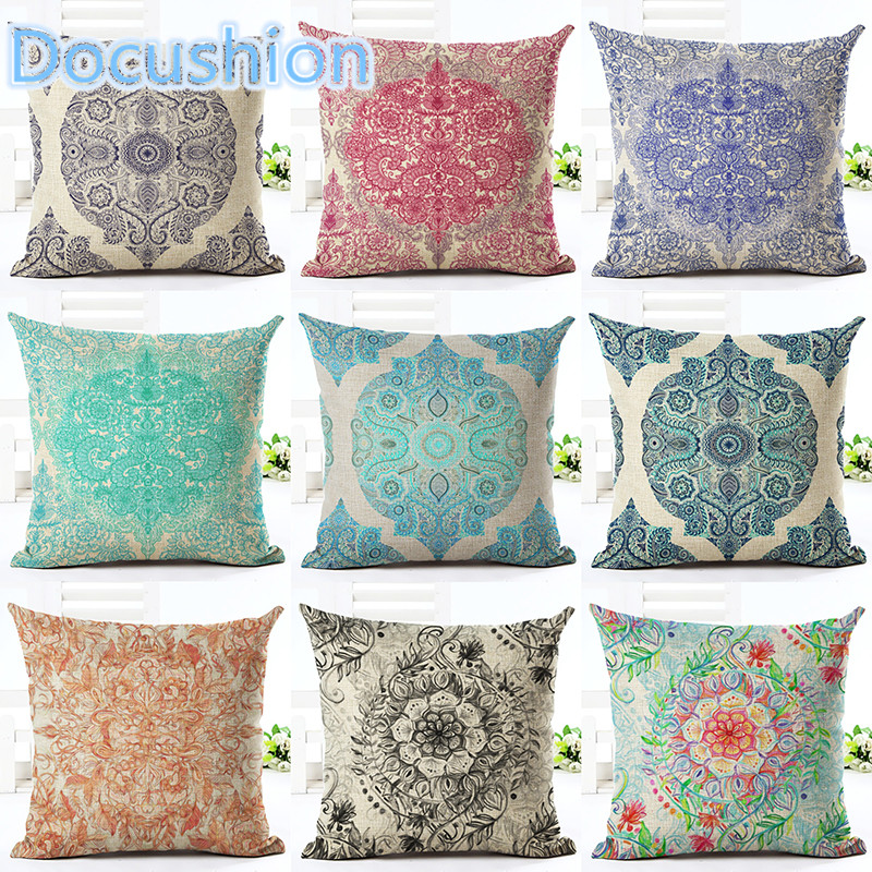 Newest  2016 Home Decor Cushion Cover Bohemian Style Car Home Decorative Floral Printed Throw Pillowcase Cojines Almofada