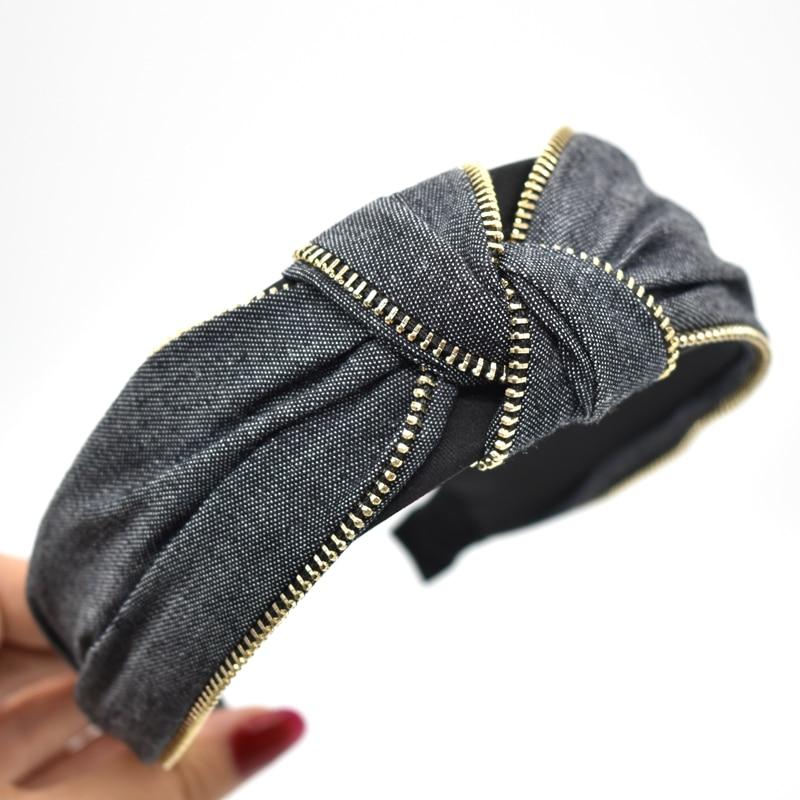 Fashion Blue Denim Hairband For Women Hair Accessories Metal Zipper Headbands